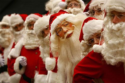 Santas in line