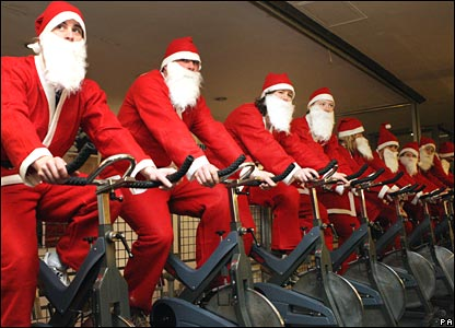 Santas on ex bikes
