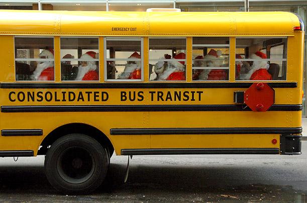 Santas on bus