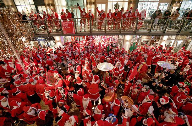 Santas from above